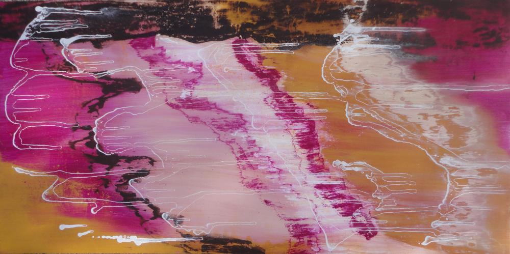 Botswana Abstract Painting, 18x36inch Canvas. Pink, Magenta, Brown ...